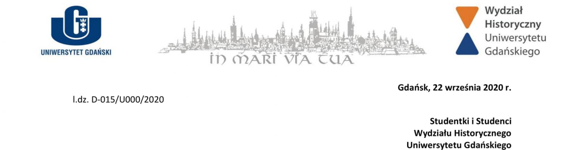 Inauguracja - list Dziekana Wydziału Historycznego UG do Studentów