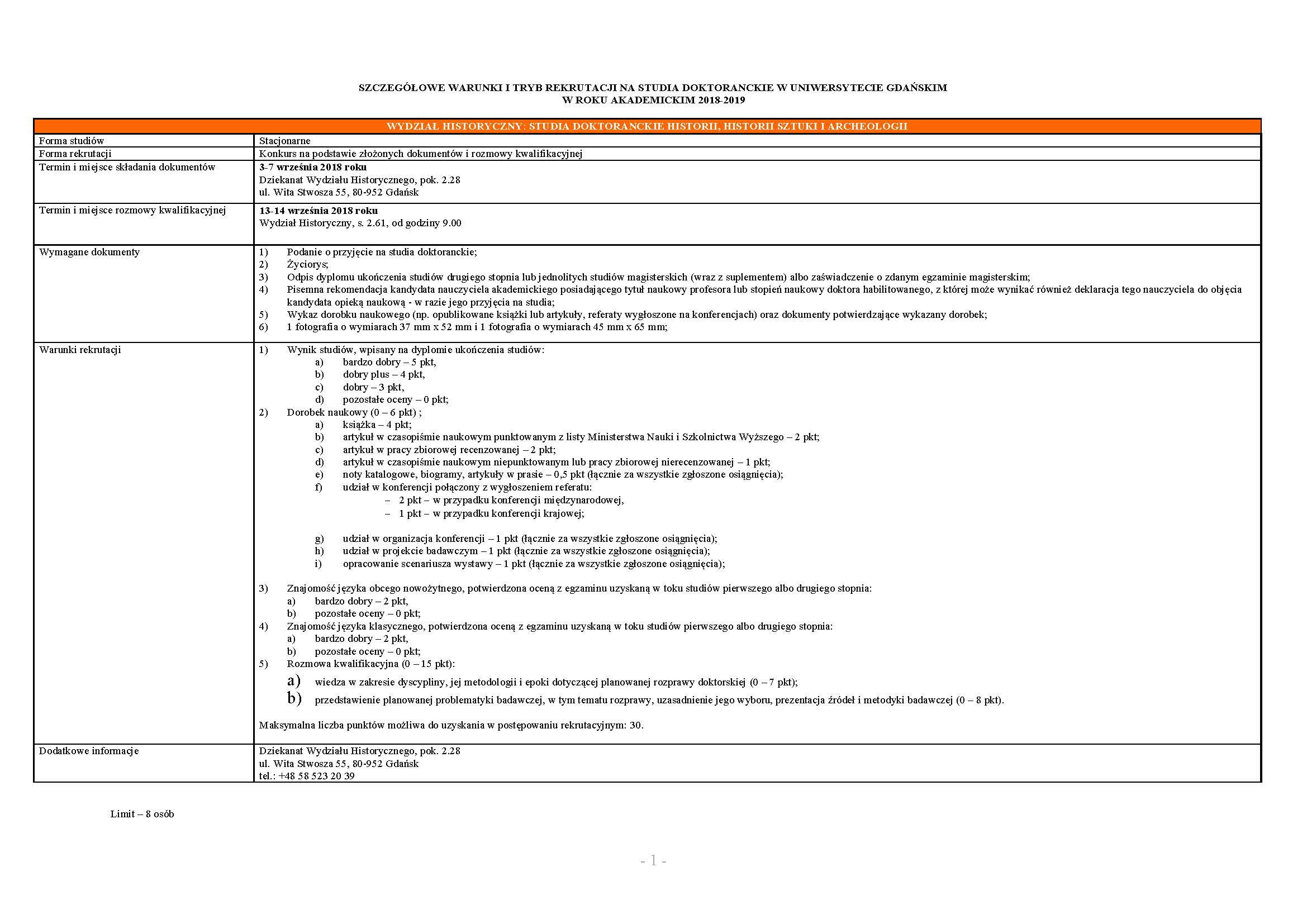 Szczegółowe warunki rekrutacji st. dokt