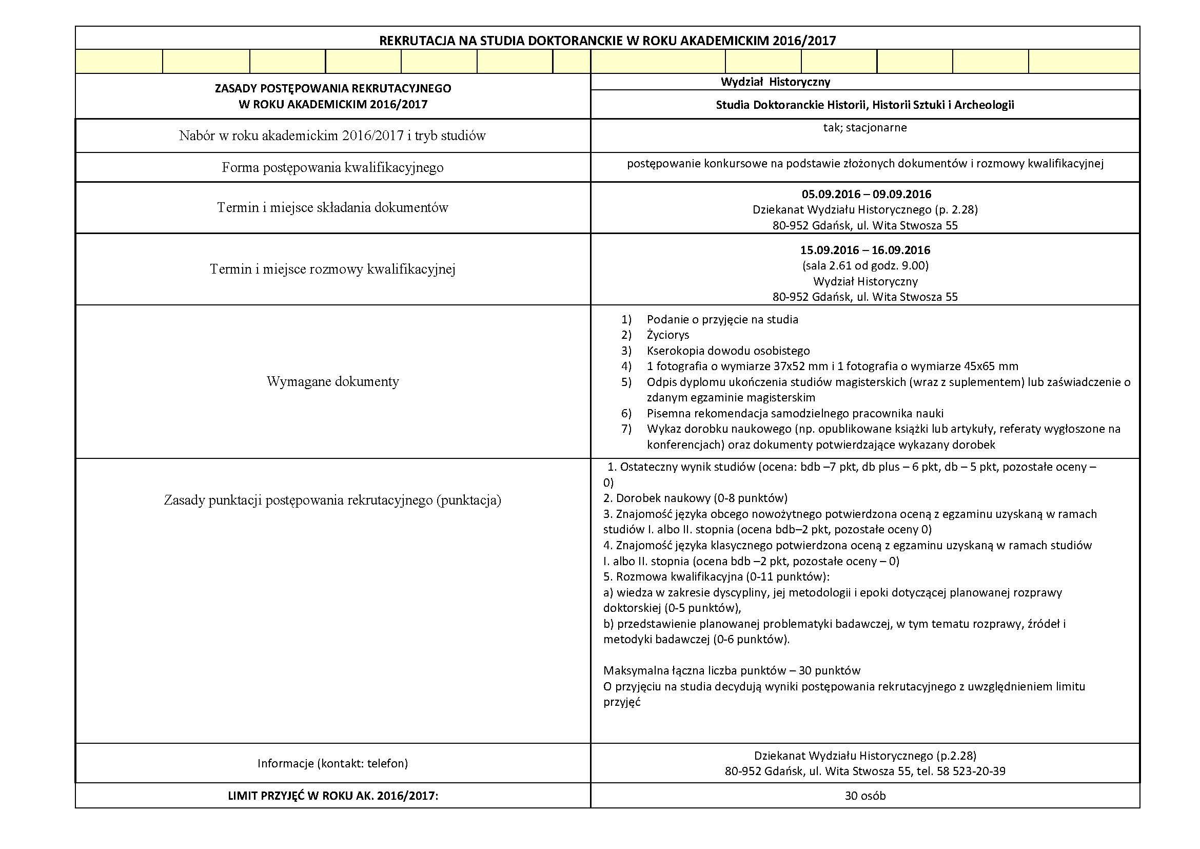Zasady rekrutacji St Dok. 2016-2017