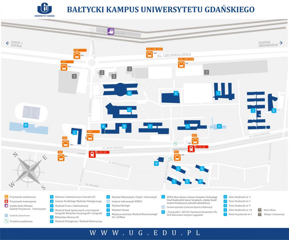 Kampus Oliwa - mapa